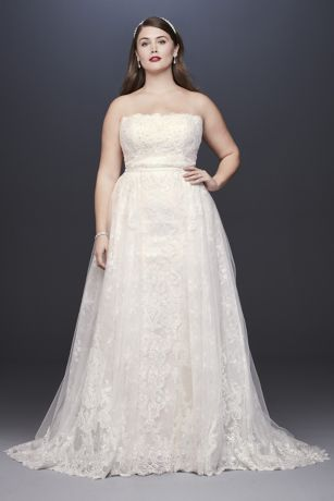 4d036d5b6c0 Lace Sheath Plus Size Wedding Dress with Overskirt