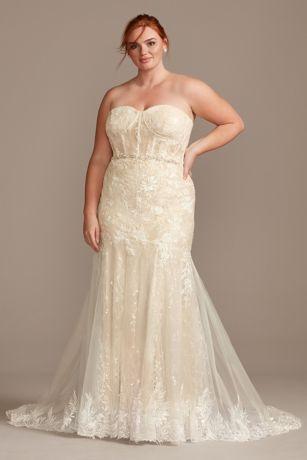 Embellished Lace Corset Plus Size Wedding Dress David S Bridal