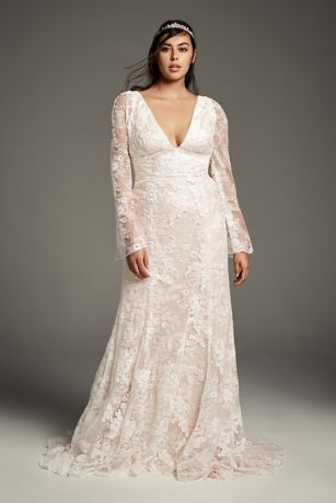 White by Vera Wang Bell Plus Size Wedding Dress | David\'s Bridal