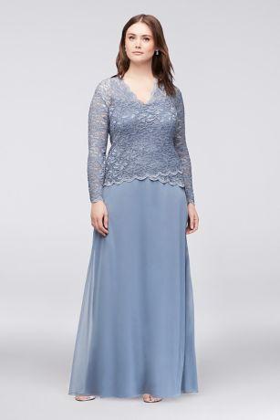 Long-Sleeve Lace and Chiffon Plus Size Dress | David\'s Bridal