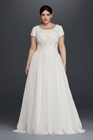 Modest Short Sleeve Plus Size A-Line Wedding Dress | David\'s Bridal