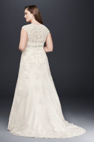 c9f49c6d7593 Cap Sleeve Lace Over Satin Plus Size Wedding Dress | David's Bridal
