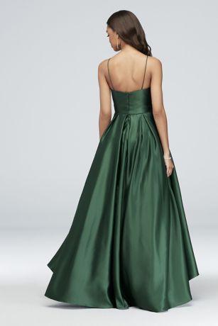 4fc7db35ac4 High-Neck Satin Ball Gown