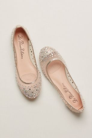 37b070292c312 Mesh Ballet Flat with Scattered Crystals | David's Bridal