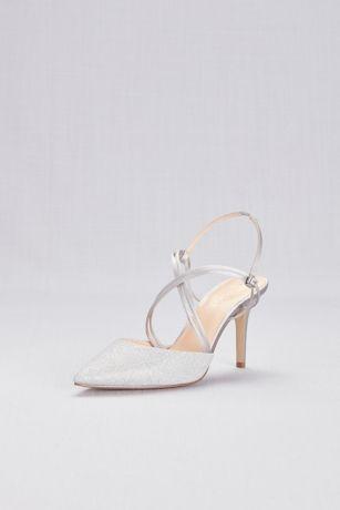 c2b376c5ffa Strappy Glitter Mesh Pointy Toe Heels | David's Bridal