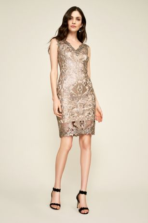 Short Metallic Corded Lace Tank Sheath Dress Davids Bridal