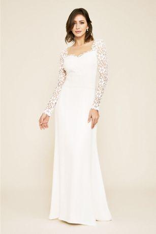 06c6b95bd6a56 Hunter Tulle and Crepe Long Sleeve Wedding Dress   David's Bridal