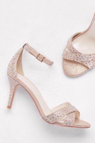 7388877cff1 David s Bridal Pink (Crystal-Studded Crisscross Mid-Heel Sandals). Save
