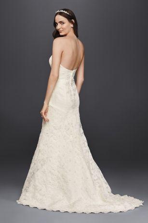 1e18e252719e Oleg Cassini Strapless Lace Trumpet Wedding Dress | David's Bridal