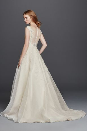 As Is Cap Sleeve Wedding Dress With Textured Skirt