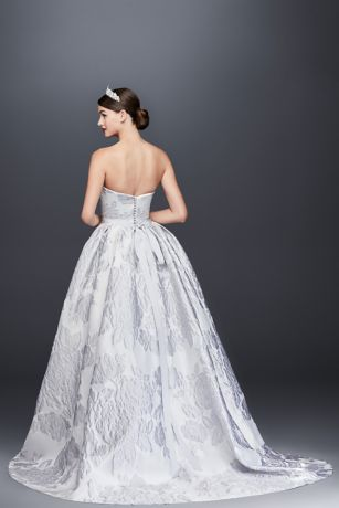 Floral brocade ball gown wedding dress davids bridal mouse over to zoom junglespirit Image collections