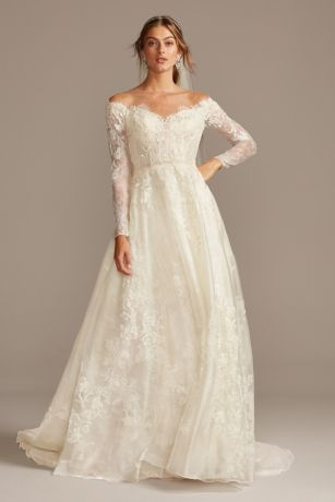 Shimmer Lace Long Sleeve Applique Wedding Dress David S Bridal