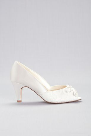 Lace and Satin Peep Toe Wide Width Pumps with Bow