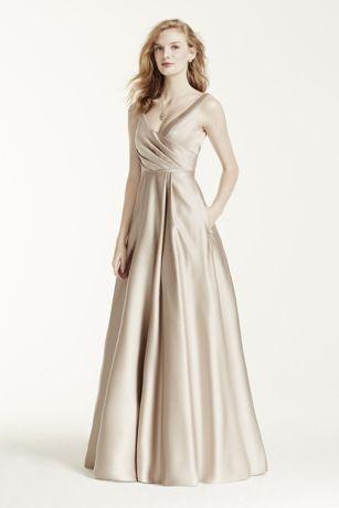 Satin Tank Long Ball Gown   David\'s Bridal
