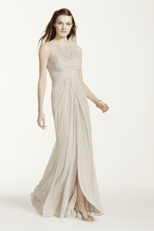 87c013f6fc2 Sleeveless Long Mesh Dress with Corded Lace