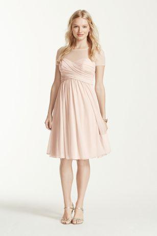 Pleated Bodice Short Sleeve Mesh Dress