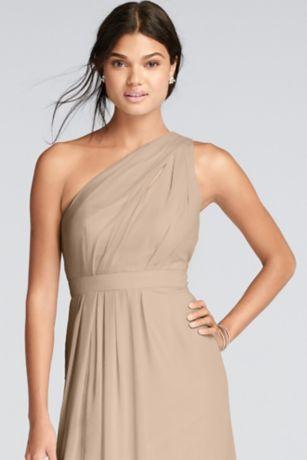 long one shoulder crinkle chiffon dress david s bridal