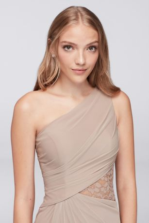 81cd4a22bb9 One-Shoulder Mesh Dress with Metallic Lace Inset