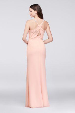 75bd1f316d7 Chiffon Sheath Bridesmaid Dress with Beaded Straps