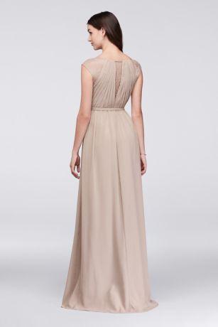 Chiffon Bridesmaid Dress with Chantilly Lace Inset | David\'s Bridal