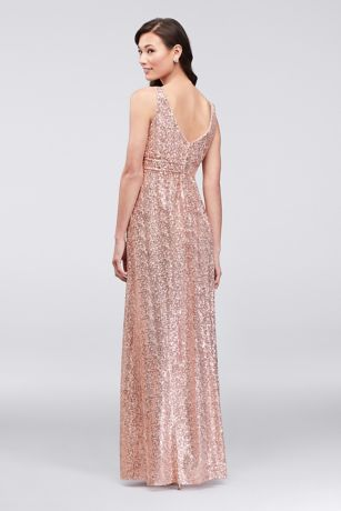 dce66669 Sequin V-Neck Bridesmaid Dress with Satin Piping   David's Bridal