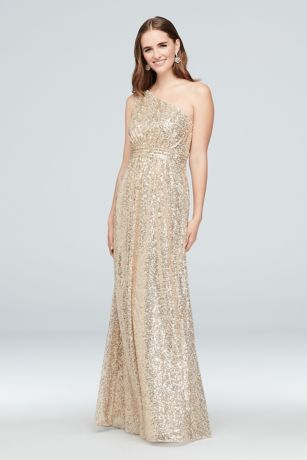 af75d653f69aa Allover Sequin One-Shoulder Bridesmaid Dress | David's Bridal