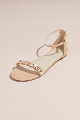 30df13f3dae David s Bridal Pink (Faux-Suede Gem Strap Flat Sandals). Save