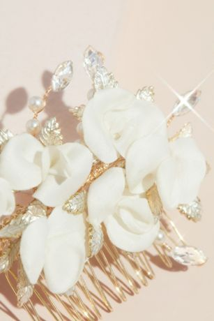 BridalPromMini white pearl strand with crystal embellished comb setaccessories