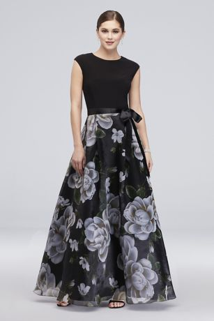 cap sleeve floral printed ball gown with bow david s bridal