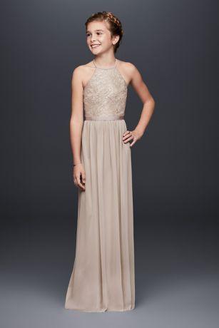 ccd22903dda Keyhole Metallic Lace Mesh Junior Bridesmaid Dress