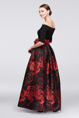 3ff34fd67979 Off-The-Shoulder Crepe and Jacquard Ball Gown