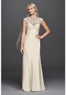 Illusion Cap Sleeve A-line Beaded Wedding Dress