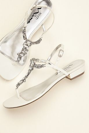 d23930441ab8 Touch of Nina Multi Stone T-strap Metallic Sandals