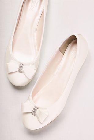 Crystal Bow Satin Ballet Flats   David\'s Bridal