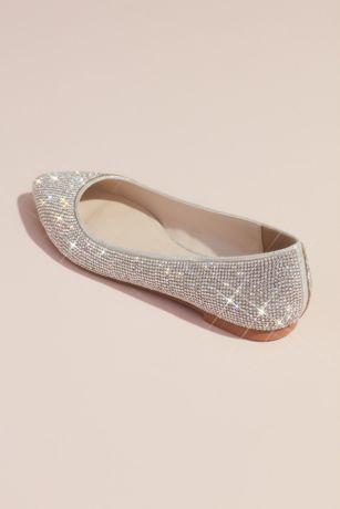 4ff4a64bd David's Bridal Grey (Allover Crystal Metallic Almond-Toe Flats). Save