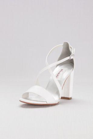 349bcf2febe8 Dyeable Crisscross Strap Block Heel Sandals
