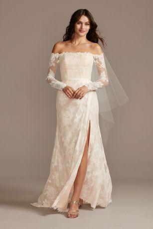Large Floral Lace Long Sleeve Wedding Dress David S Bridal