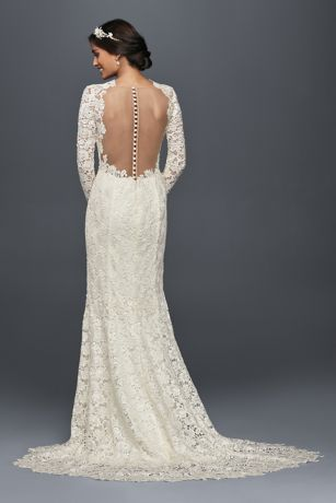 Long sleeve lace wedding dress with open back davids bridal mouse over to zoom junglespirit Choice Image