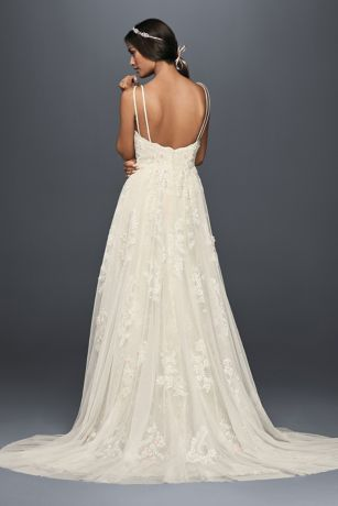 Scalloped A Line Wedding Dress With Double Straps
