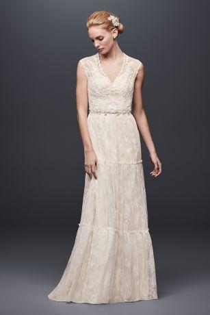 4035530e8f40 Chantilly Lace Cap-Sleeve Sheath Wedding Dress | David's Bridal