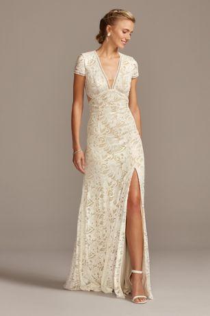 V Neck Stretch Lace Open Back Sheath Wedding Dress David S Bridal