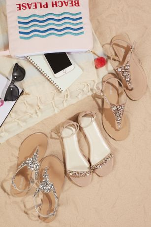 5558712896f Pink (Jeweled Metallic Ankle-Strap Thong Sandals). Save