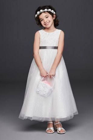 59d905cc03b Tulle and Lace Flower Girl Dress with Heart Cutout