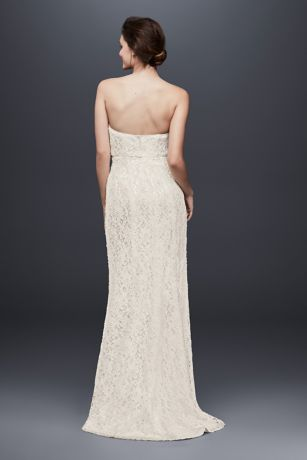4b266d79 Allover Beaded Lace Sheath Gown with Empire Waist | David's Bridal