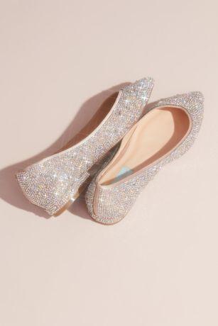 c60436e52 Allover Crystal Almond-Toe Flats   David's Bridal