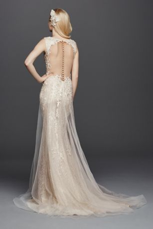e8d495c06f66 Tulle A-Line Wedding Dress with Plunging V-Neck | David's Bridal