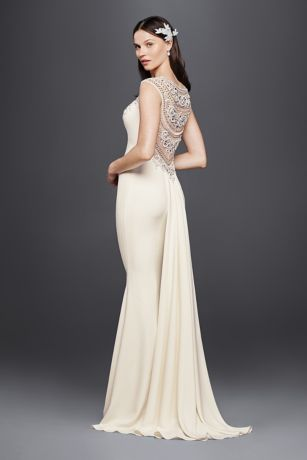 Beaded stretch crepe wedding dress davids bridal mouse over to zoom junglespirit Choice Image