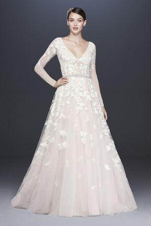2fad8e5318673 Illusion Sleeve Plunging Ball Gown Wedding Dress   David's Bridal