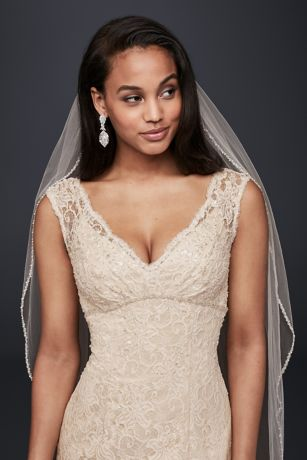 All Over Beaded Lace Trumpet Wedding Dress David S Bridal