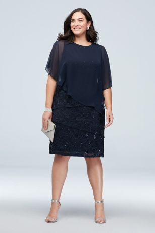 Cold Shoulder Cape and Ruffle Lace Plus Size Dress | David\'s ...